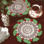 Vintage Holly Wreath Doily Crochet Pattern