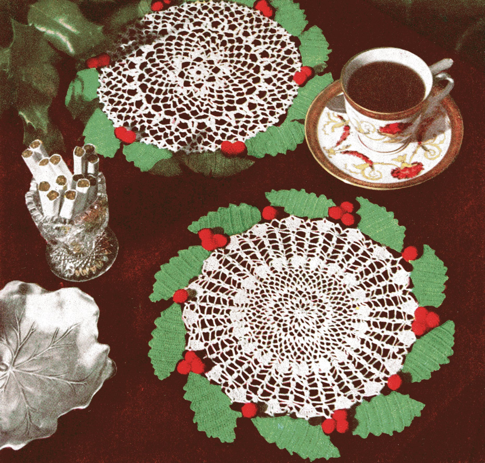 Vintage Holly Wreath Doily Crochet Pattern - Vintage ...