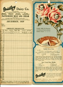 Gridley Dairy Co Order and Recipes