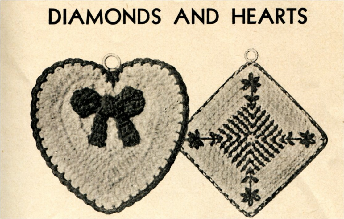 Vintage Crochet Diamond And Heart Shaped Potholder Pattern Vintage