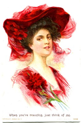 Victorian Lady in Red Post Card