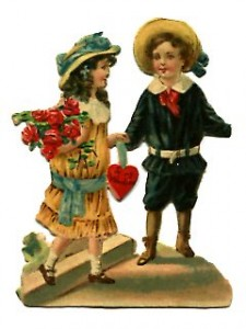 Valentine Victorian Boy and Girl
