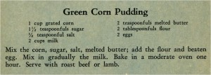 Green Corn Pudding Recipe