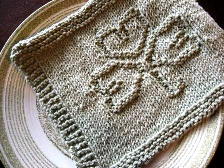 Vtns Fan Freebie Shamrock Dish Cloth Knitting Pattern Vintage