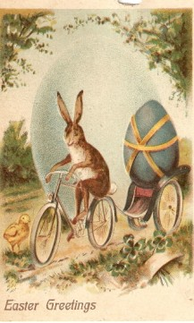 Vintage Postcard Easter Bunny on a Bike