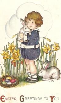 Vintage Easter Postcard Girl Holding Bunny