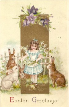 Vintage Easter Postcard Girl and Bunnies