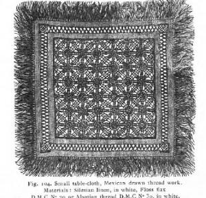 Drawn Thread Work Small Table Cloth