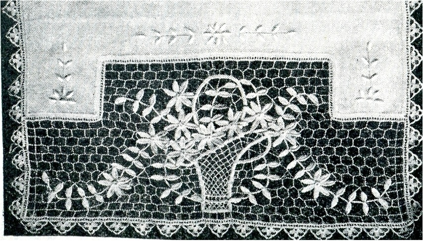 Irish Crochet Pattern Flower Basket Design Scarf End Vintage