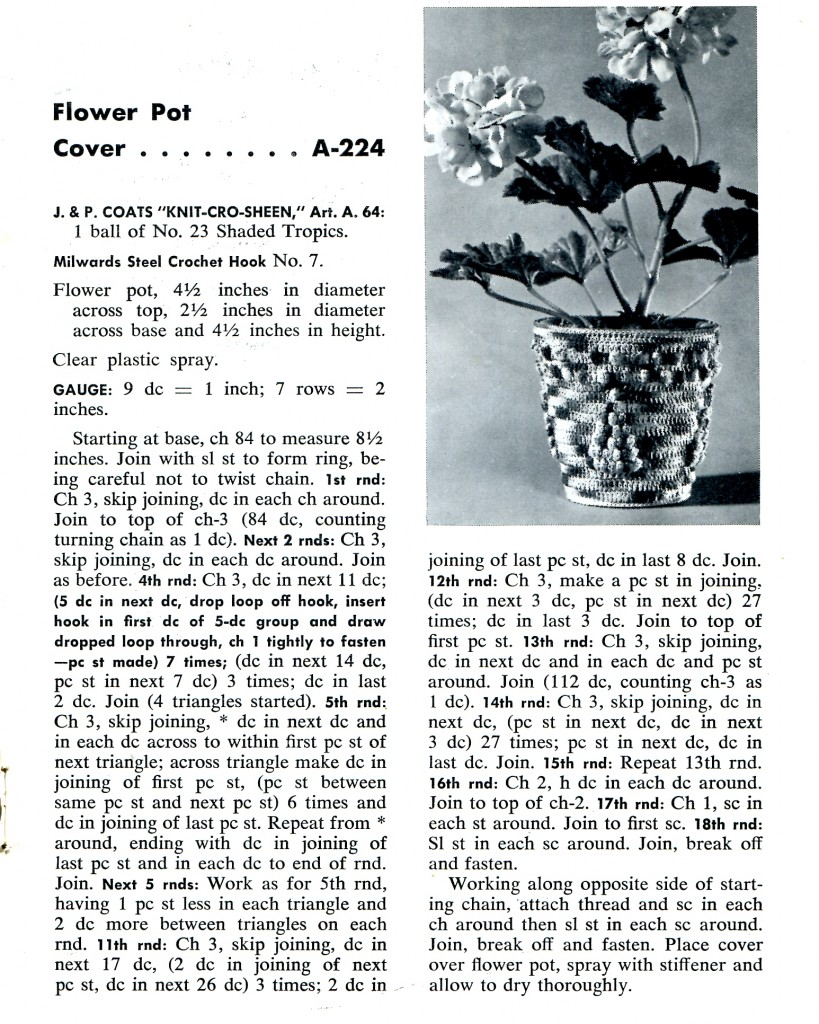 Vintage Crafts and More - Crochet Flower Pot Cover Pattern