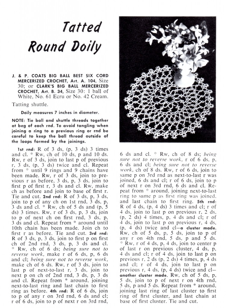 Vintage Crafts and More - Tatted Round Doily Pattern