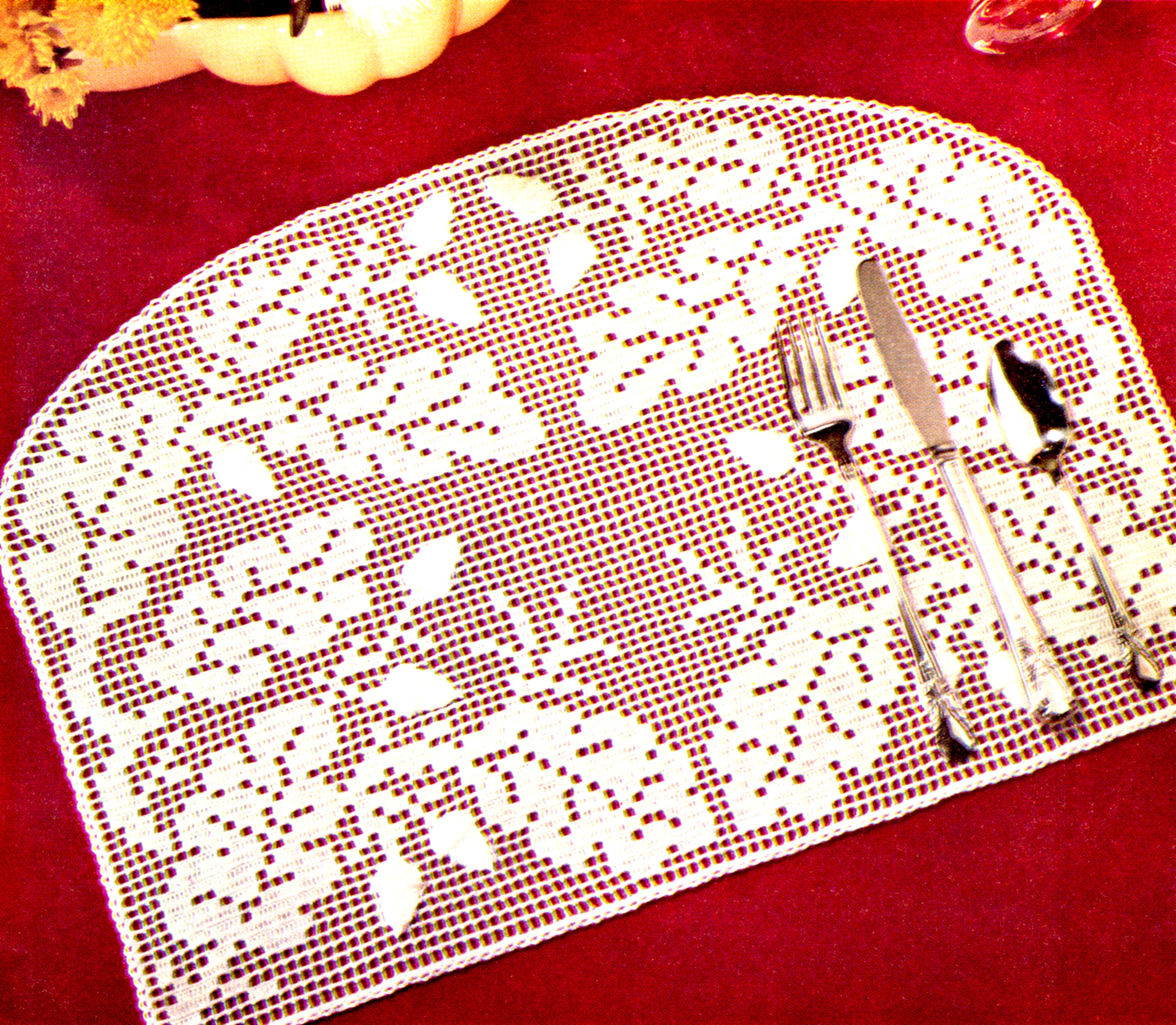 Vintage Crochet Pattern Oak Leaves And Acorns Place Mat