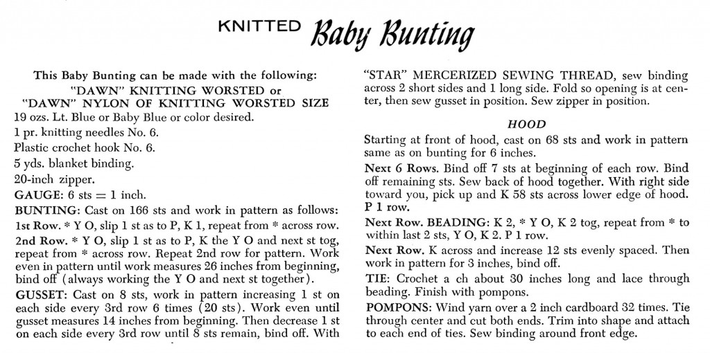 Vintage Crafts and More Knitted Baby Bunting Pattern Instructions