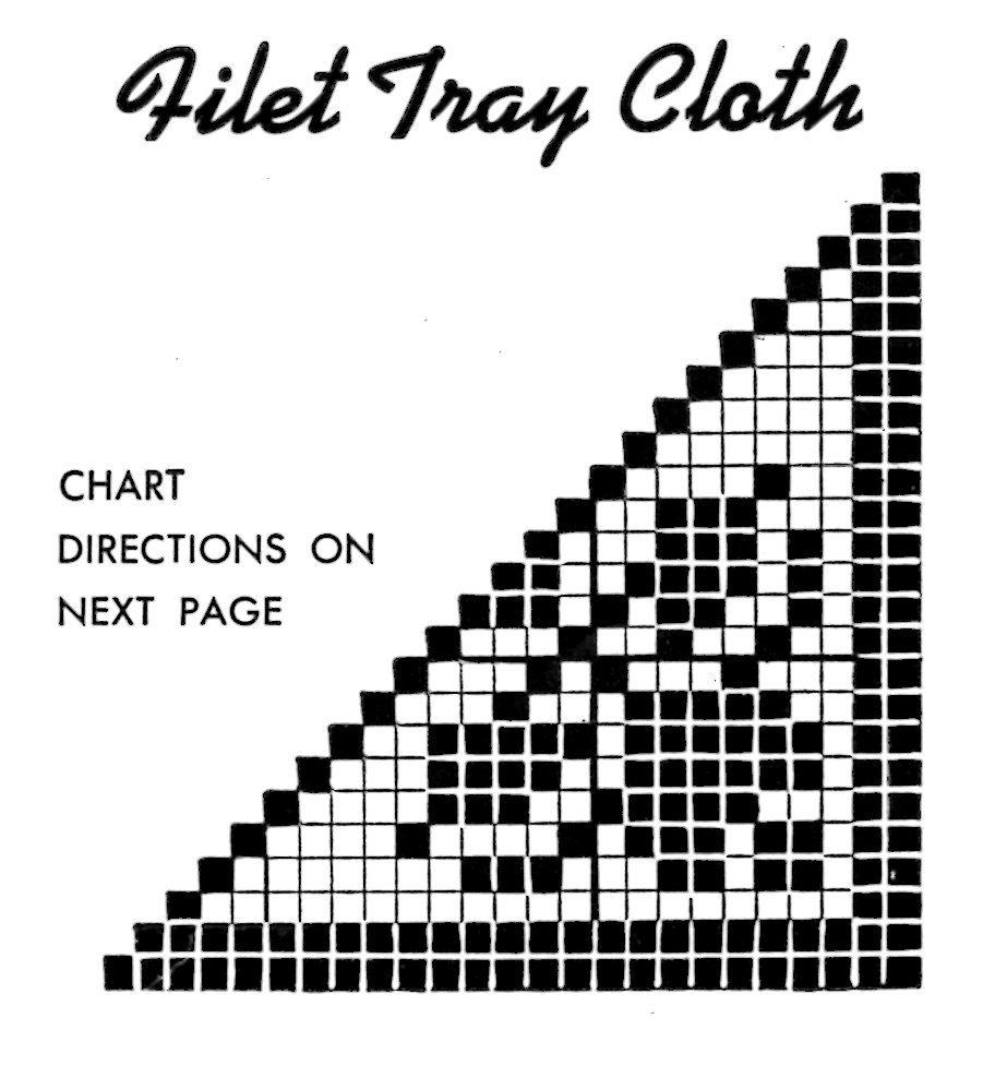Vintage Crafts and More - Crochet Filet Tray Cloth Pattern Chart
