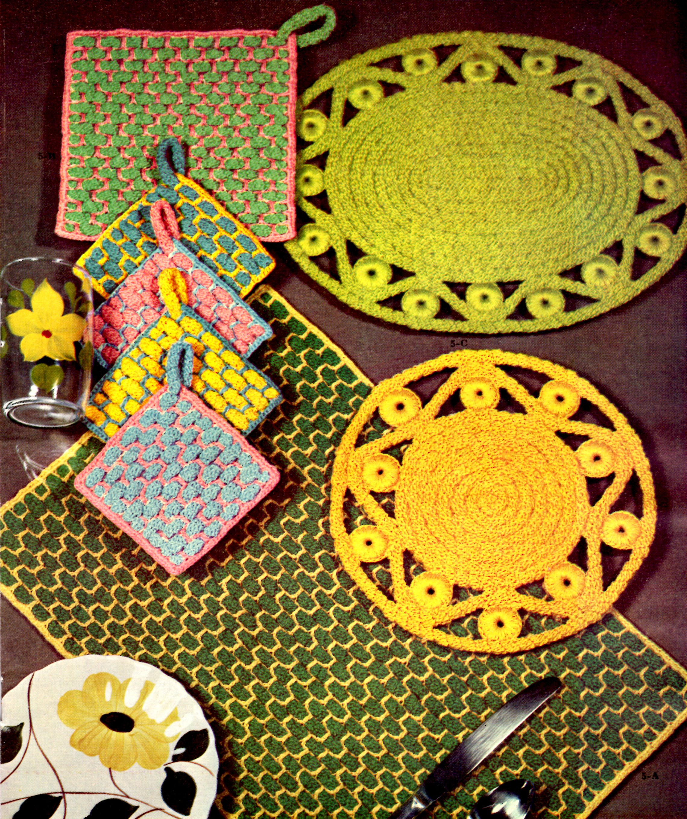 Vintage Crochet Rope Craft Placemat And Hot Plate Patterns Vintage