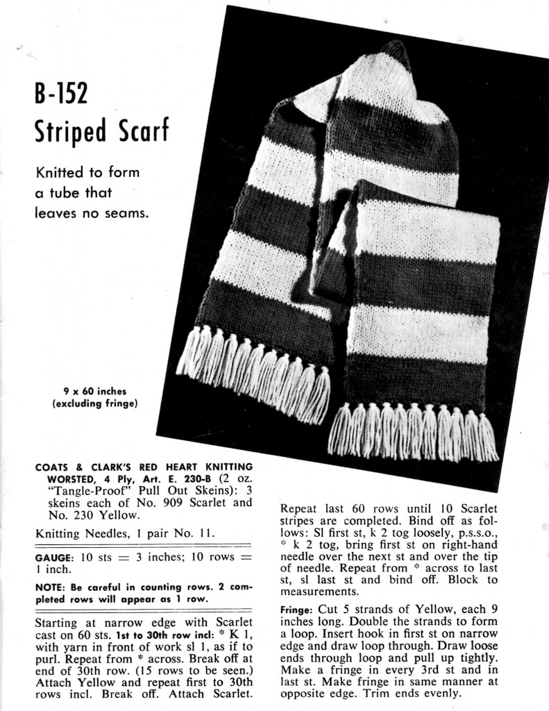 Vintage Crafts and More - Knitted Striped Scarf Pattern