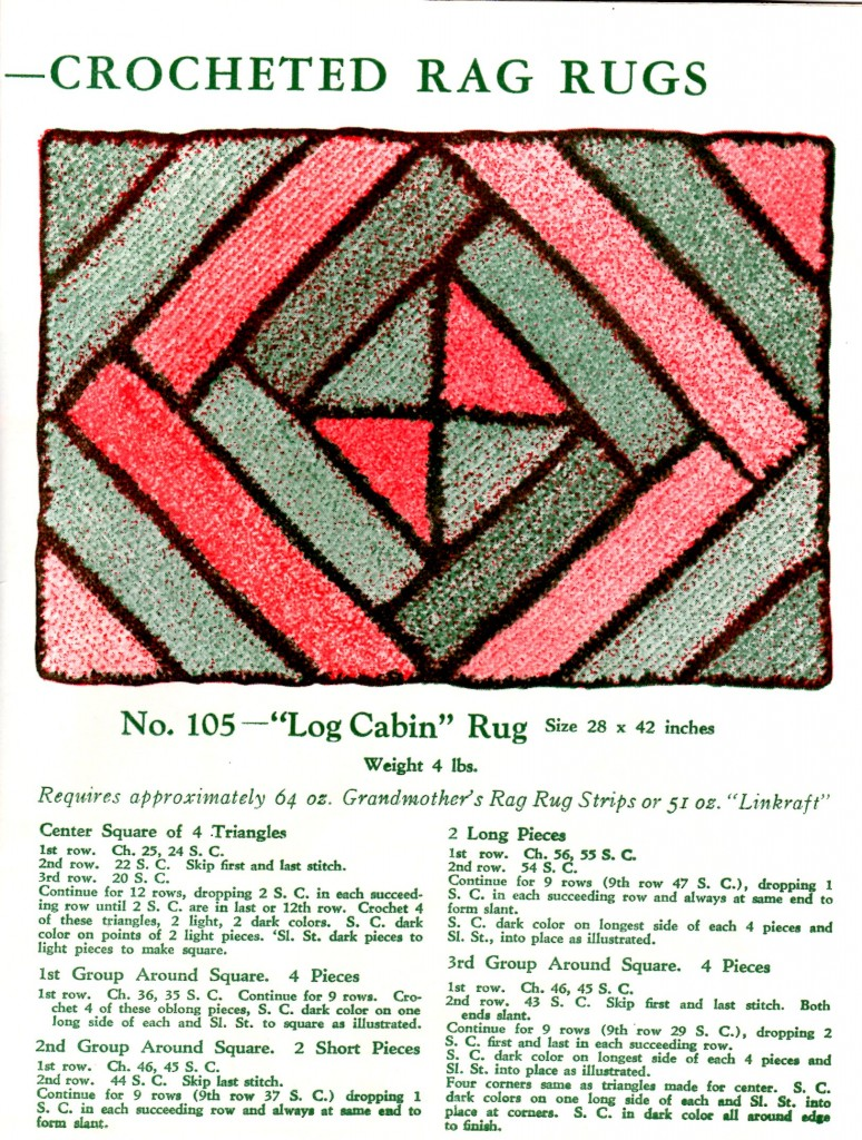 Vintage Crafts and More - Crochet Rag Rug Pattern Log Cabin