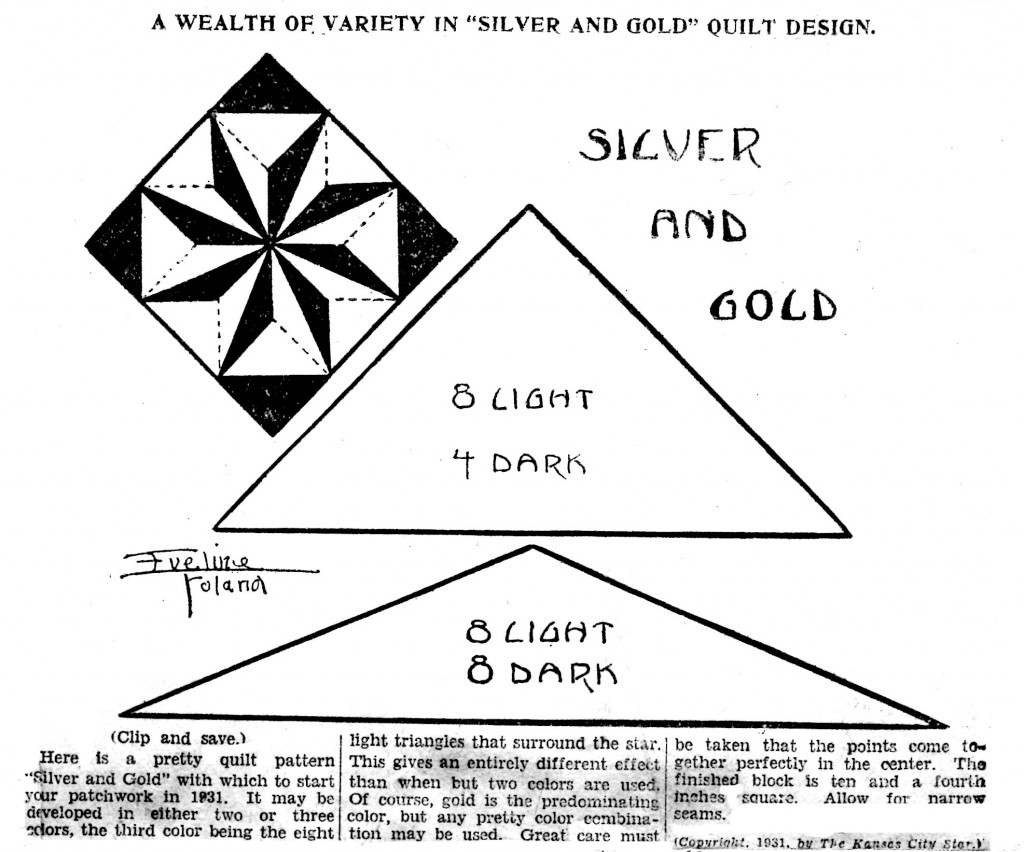 Vintage Crafts and More - Silver and Gold Quilt Pattern Eveline Foland 1931