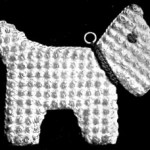 Vintage Crochet Scottie Dog Pattern Hot Pot Holder in Puff Stitch