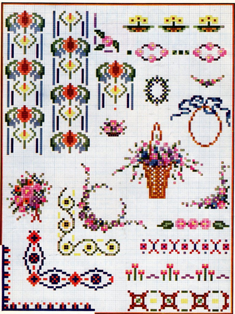 Vintage Crafts and More - Spring Cross Stitch Patterns with Grid