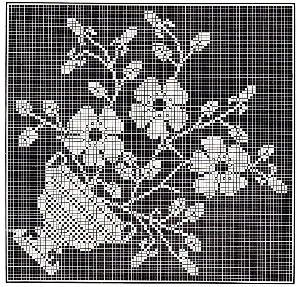 Victorian Filet Crochet Pattern Floral Tea Table Cloth