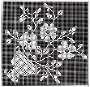 Vintage Crafts and More - Filet Crochet Flower Pot Pattern