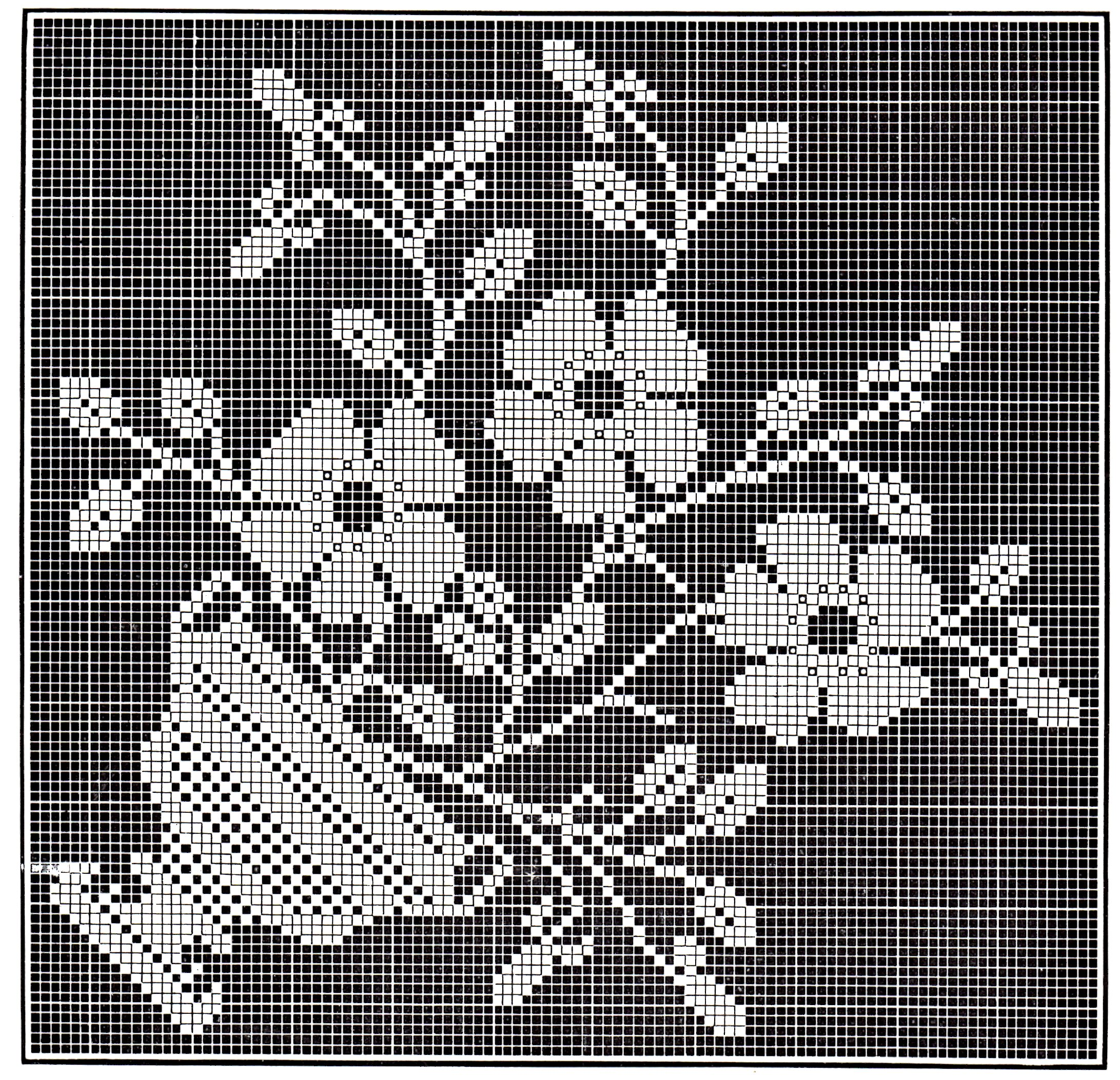 Victorian filet crochet pattern floral tea table cloth diagrams vintage crafts and more filet crochet flower pot pattern ccuart Images