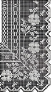 Vintage Crafts and More - Filet Crochet Pattern Flower Border