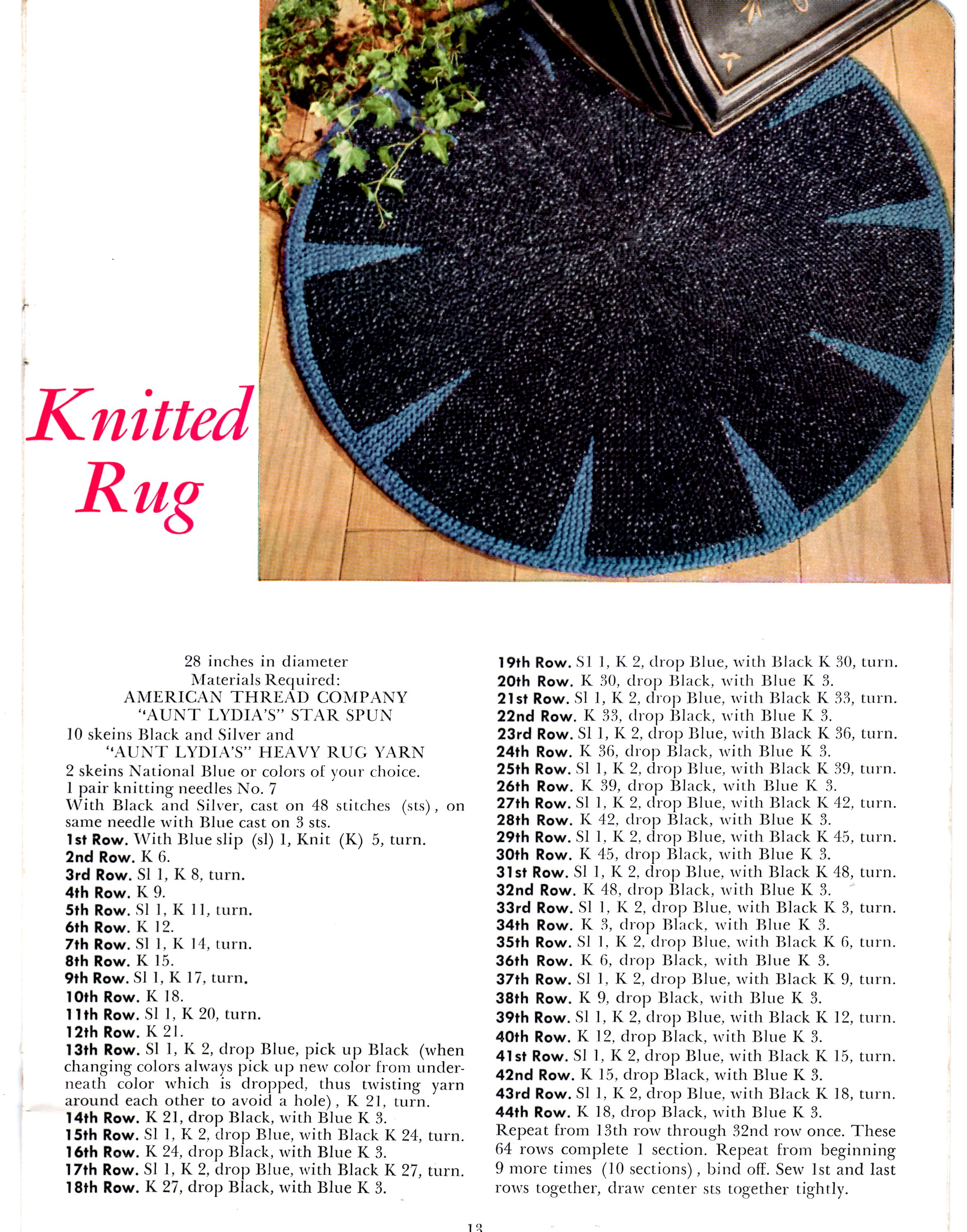 Round Rug Knitting Pattern with Aunt Lydia\'s Heavy Rug Yarn ...