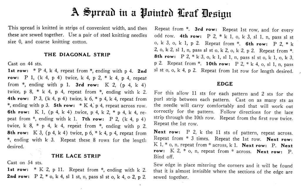 A Spread in a Pointed Leaf Design Knitting Pattern Instructions - Vintage Crafts and More