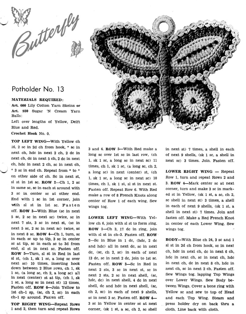 Free Crochet Pattern Butterfly Potholder Vintage Crafts and More