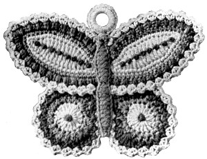Free Crochet Pattern Butterfly Potholder Vintage Crafts and More Image