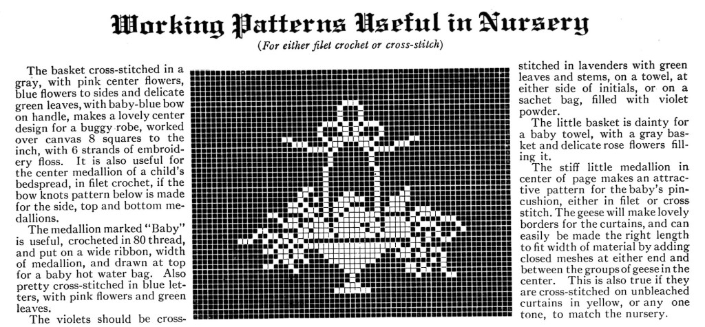 Cross Stitch or Filet Crochet Baby Nursery Patterns - Vintage Crafts and More Basket