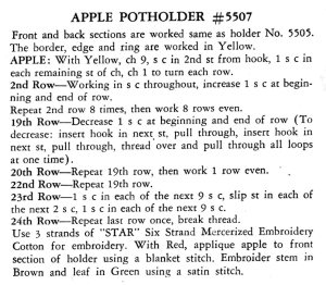 Apple Potholder Crochet Pattern - Vintage Crafts and More