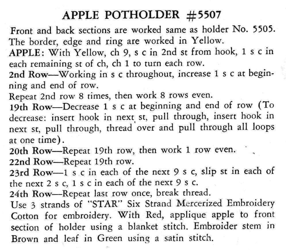 White pot holders for crafts -  Apple Potholder Crochet Pattern Vintage Crafts And More