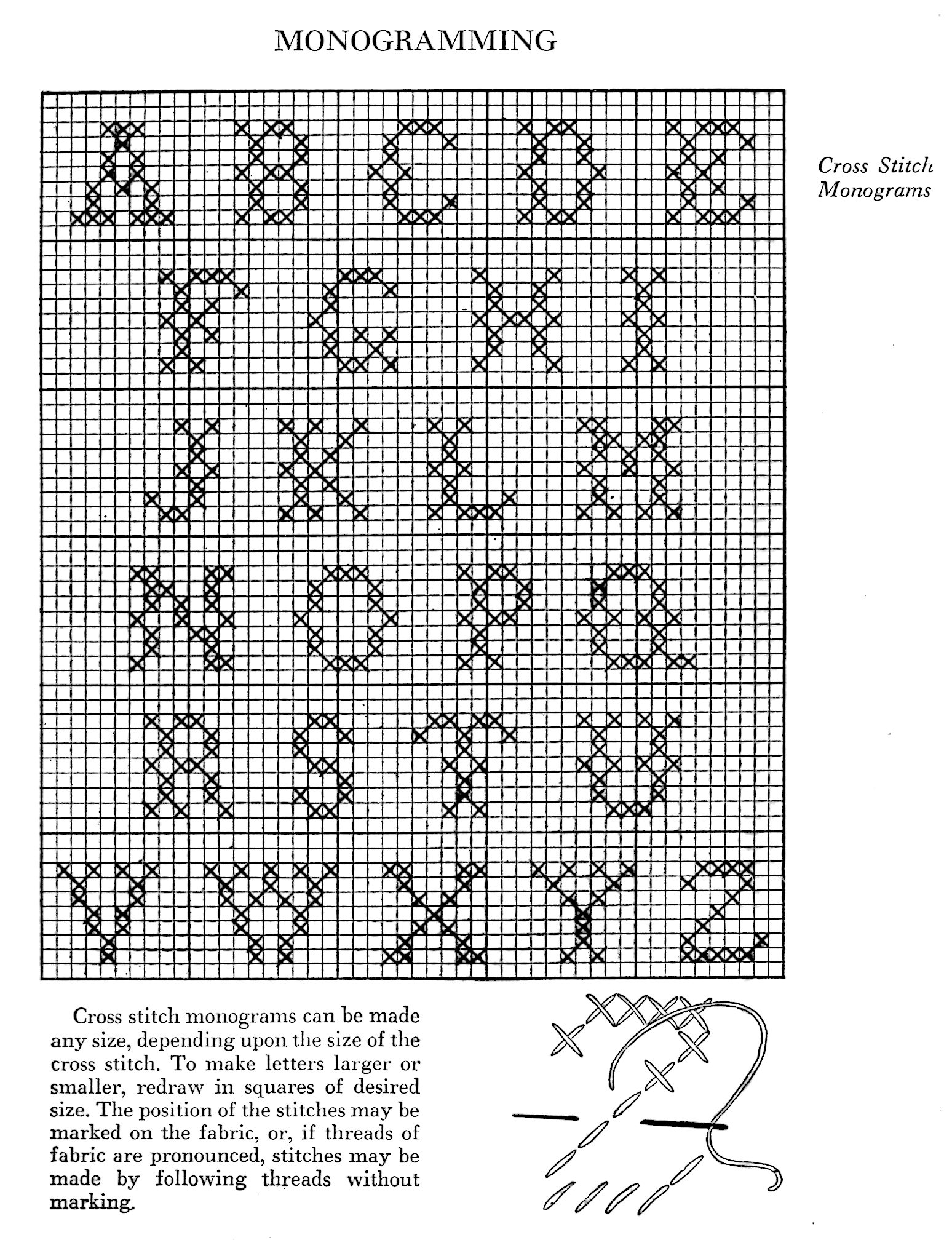 Cross Stitch Alphabet Chart For Monograms Vintage Crafts And More