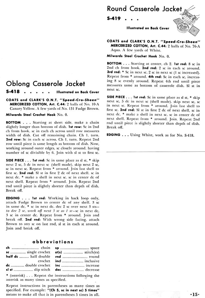 Quick Crochet Casserole Carriers Pattern Instructions - Vintage Crafts and More