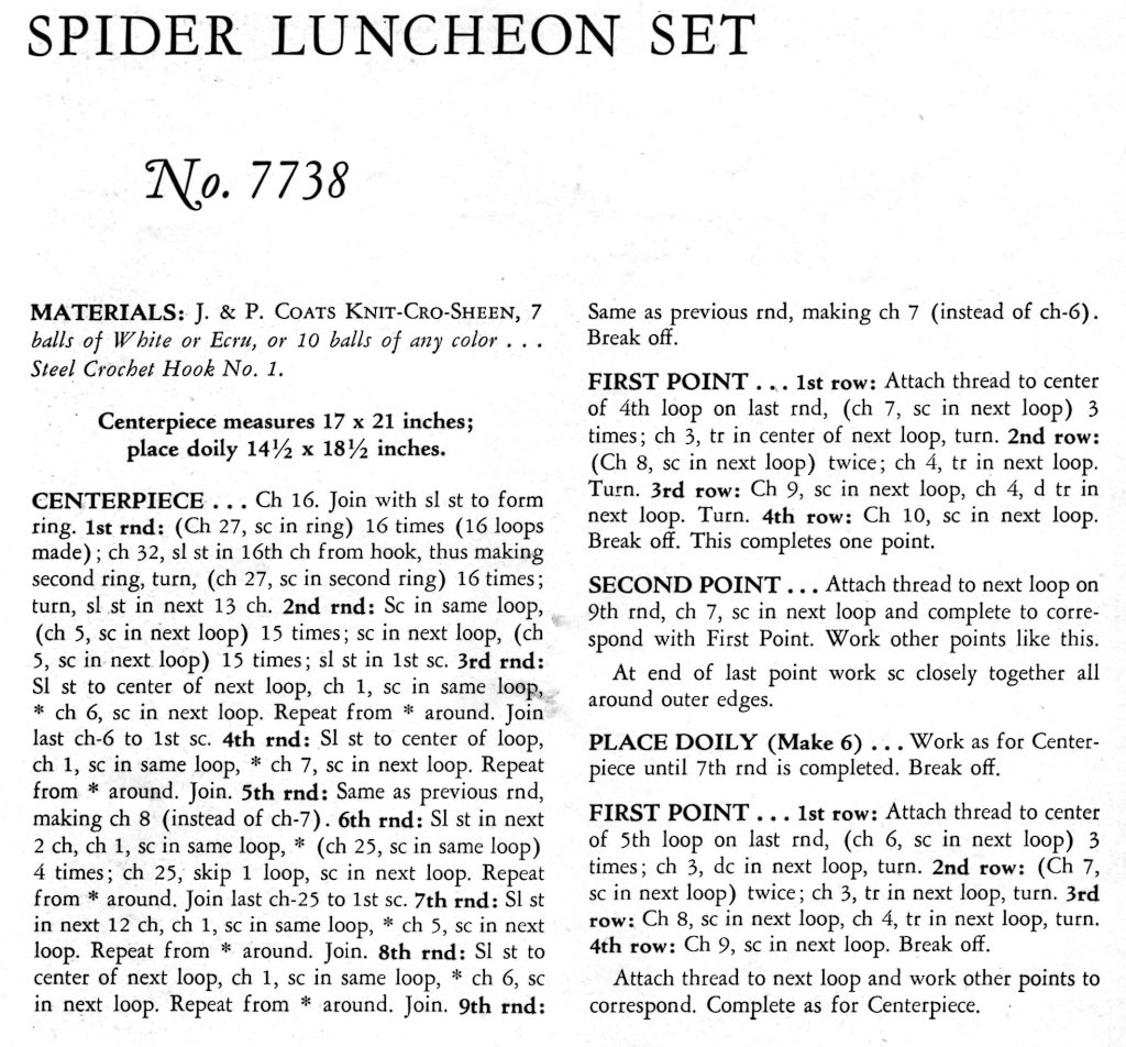 Spider Luncheon Set Crochet Pattern - Vintage Crafts and More