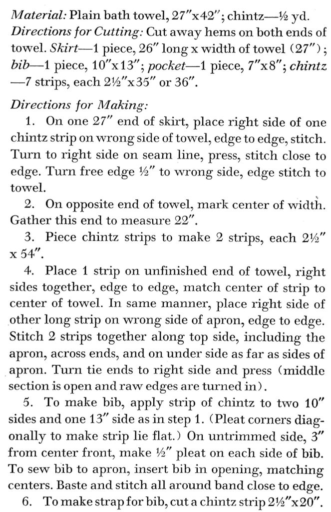 Bath Towel Apron Sewing Instructions - Vintage Crafts and More