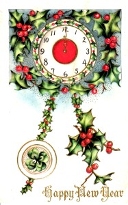 Happy New Year Postcard Midnight Holly - Vintage Crafts and More