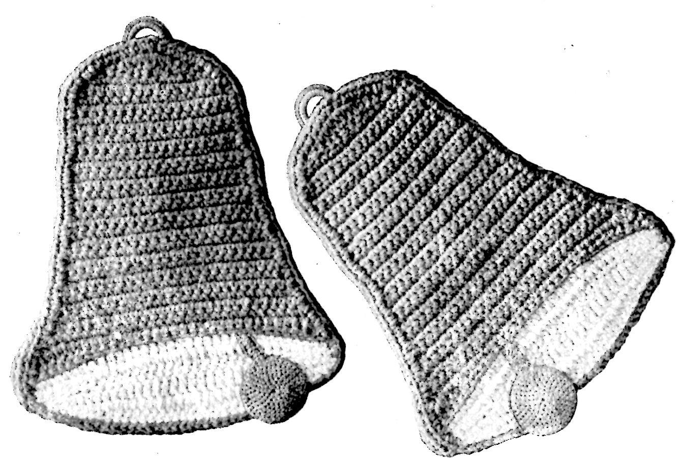 Bell Potholders Vintage Crochet Pattern for Christmas - Vintage ...