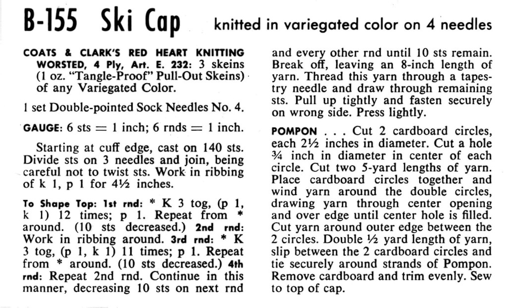 Vintage Knitted Ski Cap Pattern - Vintage Crafts and More