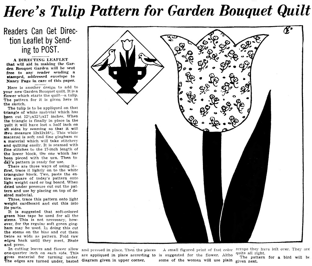 Tulip Pattern for Garden Bouquet Quilt - Vintage Crafts and More