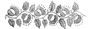 Antique Embroidery Pattern Acorns and Leaves