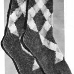 Argyle Socks for Dad – Vintage 2 Needles Knitting Pattern
