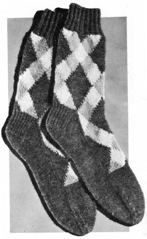 Argyle Socks for Dad - Vintage 2 Needles Knitting Pattern - Vintage ...