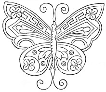 Antique Butterfly Embroidery Pattern - Vintage Crafts and More Sz 220