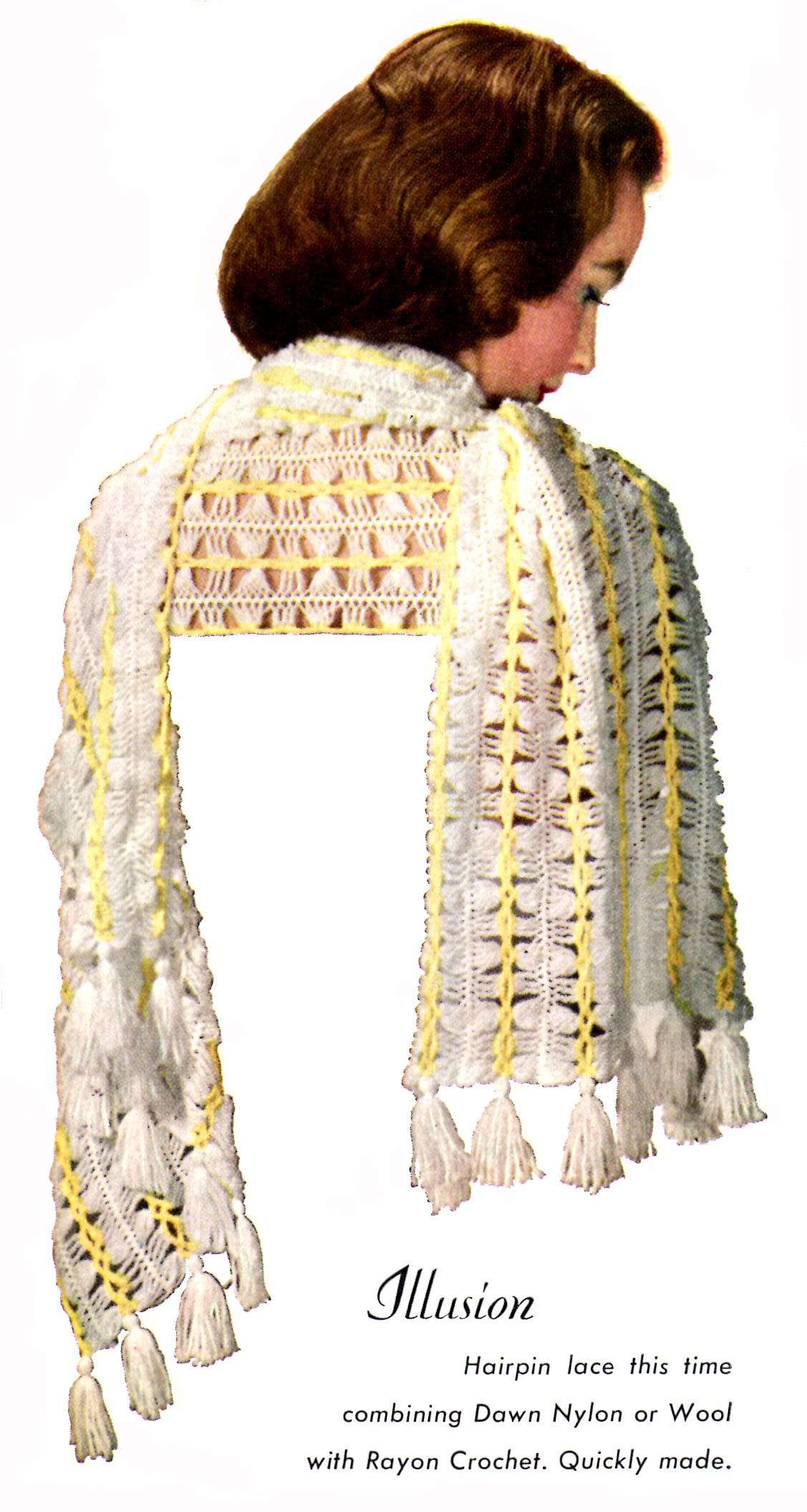 Hairpin Lace Crochet Pattern Illusion Shawl - Vintage Crafts and More