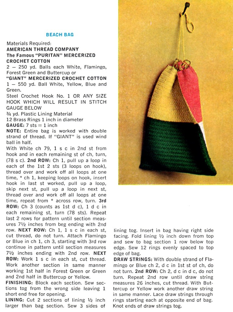 Retro Beach Bag Crochet Pattern Vintage Crafts and More
