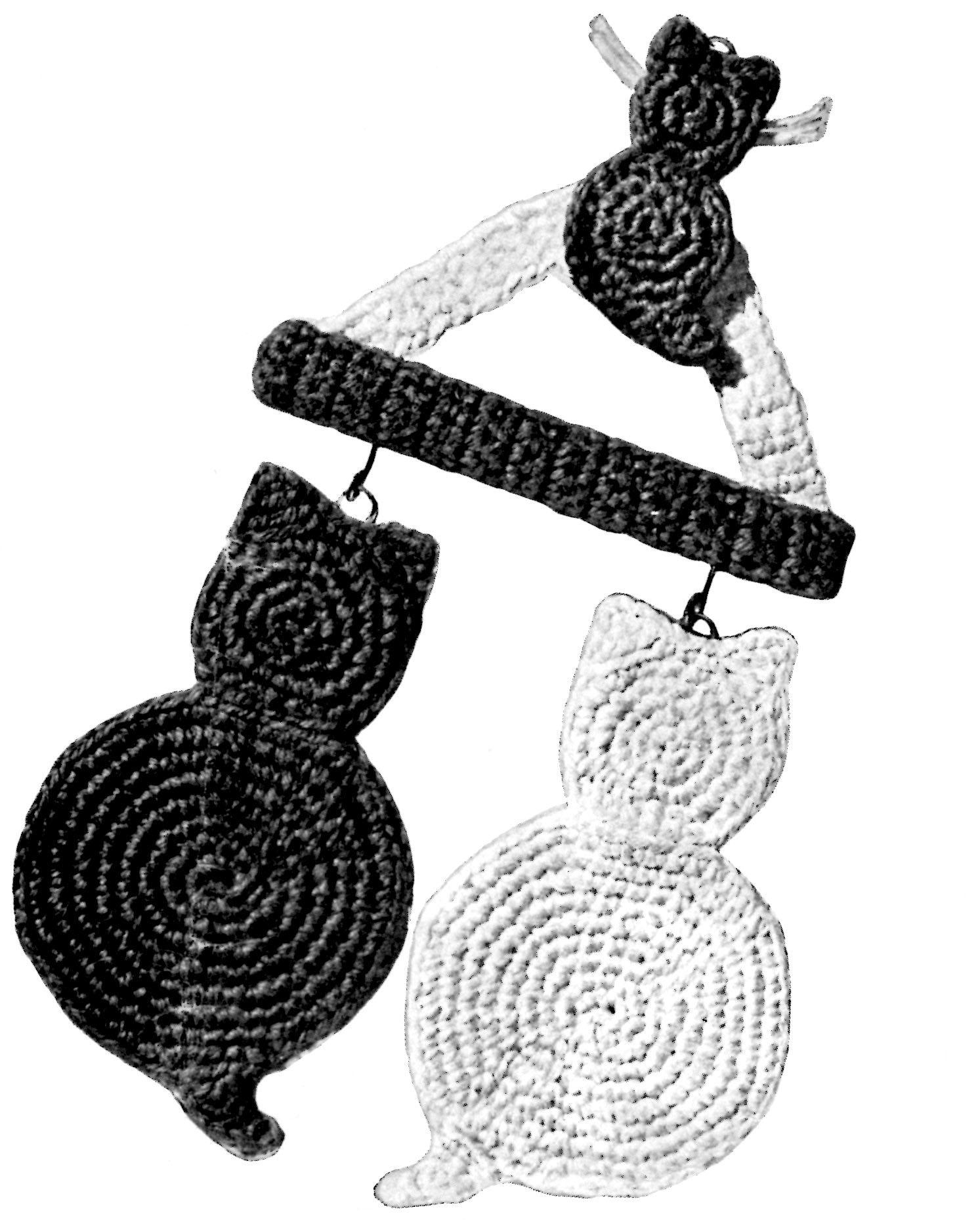 Vintage Cat Crochet Potholder Pattern with a Hanger - Vintage Crafts ...